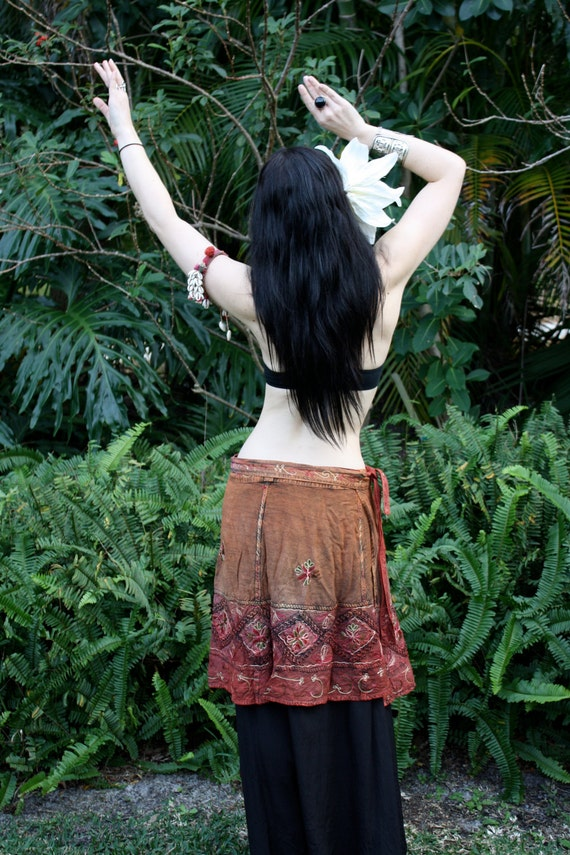 Rust & Red Embroidered Tribal Belly Dance Wrap Overskirt