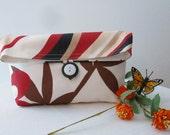 Foldover Bag Robert Allen White Red Black Brown