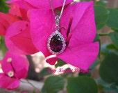Red Tourmaline and Diamond Pendant by award winning designer Kay Knight