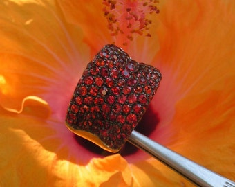 Stunning and bold Orange Pave Sapphire Ring by Kay Knight Designs