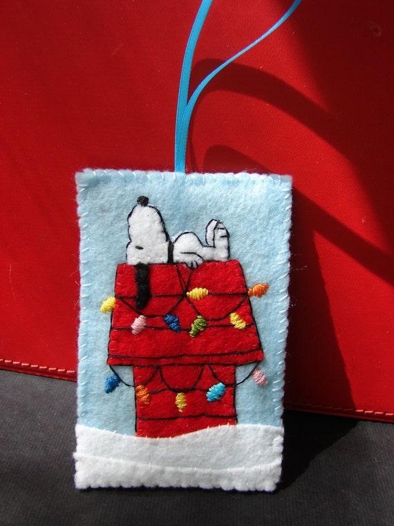 Items similar to Snoopy Ornament Felt Christmas on Etsy