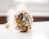 Vintage Button Bouquet - Betsy Bouquet Gold Glass and Ivory Buttons - Bridal