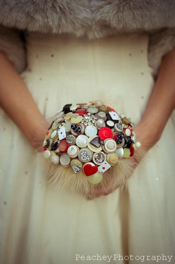 Lady Luck Button Bouquet - retro vegas vintage button bridal bouquet
