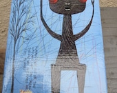 Original pop  folk brut outsider lowbrow art  painting  by Reza---- Follow the advice of a tree