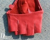 Red Leather Fingerless Fashion Glove