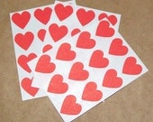 Christmas red heart stickers, 36 stickers - 3/4 inch wide. in red