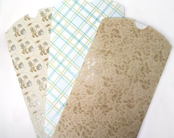 3 large pillow gift boxes - 5 x 7 inches closed - sweet cream, tan, and aqua