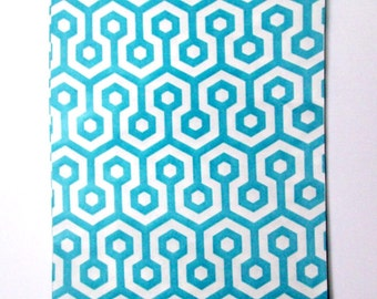10 Turquoise and white goodie bags, treat bags, party favor bags, 5 x 7 bags, paper bags, geometric print bags