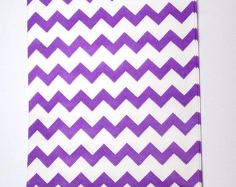 10 Purple and white goodie bags, chevron paper bags, treat bags, party favor bags