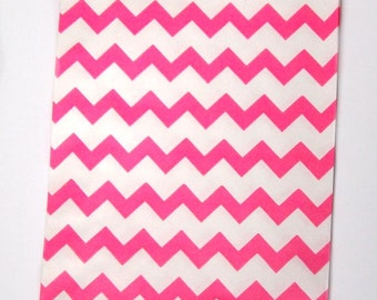 30 Pink and White Chevron Bag - Great for Weddings
