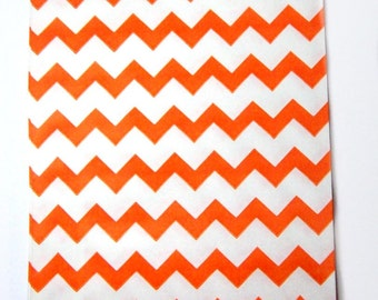 10  orange paper goodie bags chevron treat bags party favor bags party supply