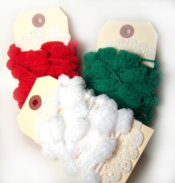 Gift wrap kit - the Pom Pom set - red, green, and white- 3 yards each, 9 yards total
