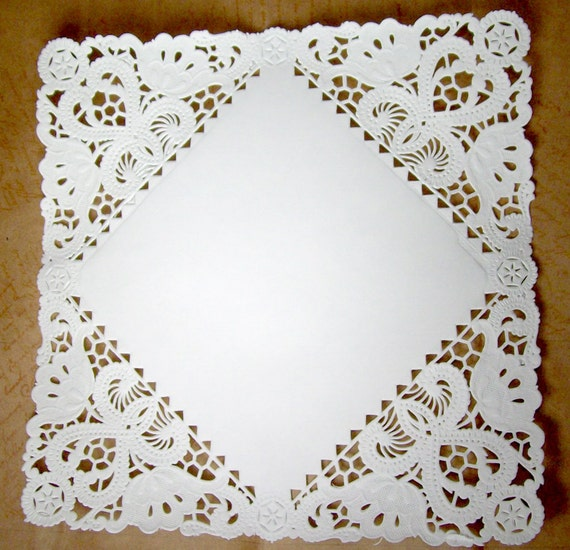 Square Paper Doilies - 50 doilies - 8 inch, white