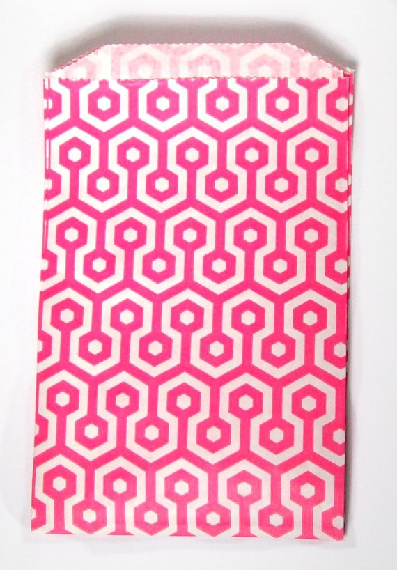 10 goodie bags pink printed treat bags party favor bags party supply paper bags
