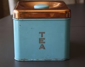 Lincoln Beautyware Metal Tea Canister in Teal and Copper 1950's