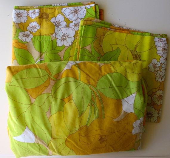 Vintage Pillowcases and Fitted Sheet  1970's Lime Green, Yellow and Orange Flowers