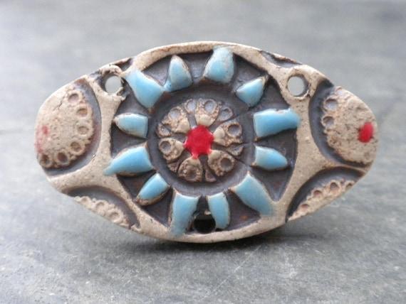 Rustic Mandala- handmade rustic ceramic mandala pendant 9701