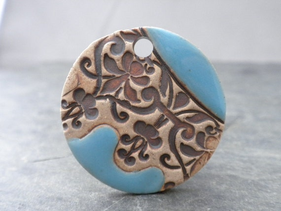 Rustic Lace- handmade rustic ceramic pendant 8720