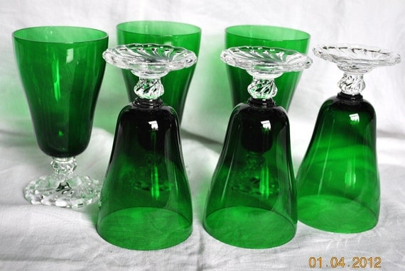 6 Vintage Fostoria Colonial Dame Forest Green Juice Glasses