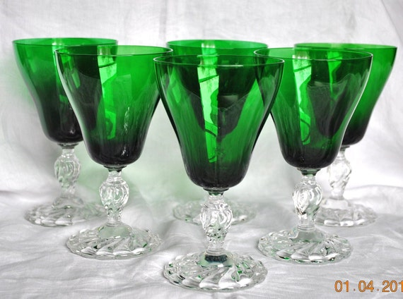 6 Vintage Fostoria Colonial Dame Forest Green Water Glasses