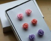 Rosebud Gift Set of 3 Stud Earrings with Surgical Steel Posts