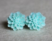 Dahlia Light Seafoam Stud Earrings with Surgical Steel Posts
