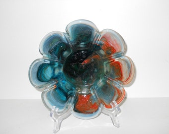 Vintage Art Glass Dish with Scalloped Borders