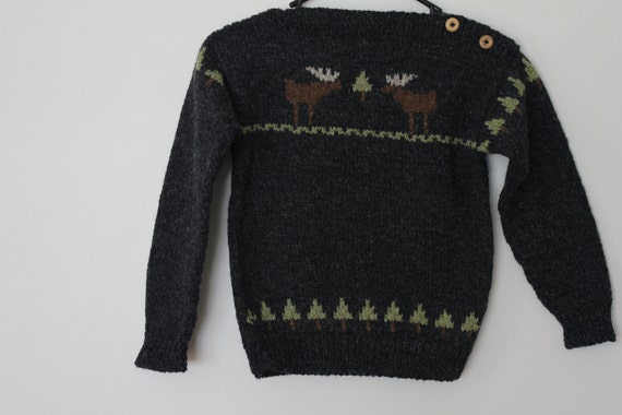 "Children""s Wool Moose Design Sweater"