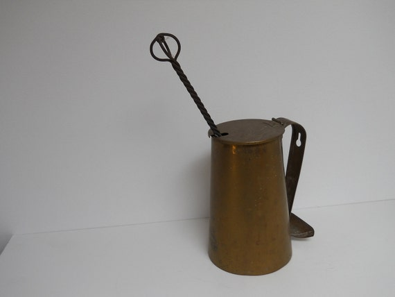 ANTIQUE-Brass Smudge Pot W/ Fire Starter Stone Wand Price Reduced