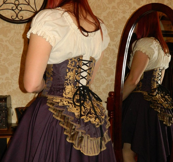 "Bustle Belt Overskirt - New Design - 3 Layer, Sz. XS/S - Eggplant & Gold - Fits up to 42"" Waist"