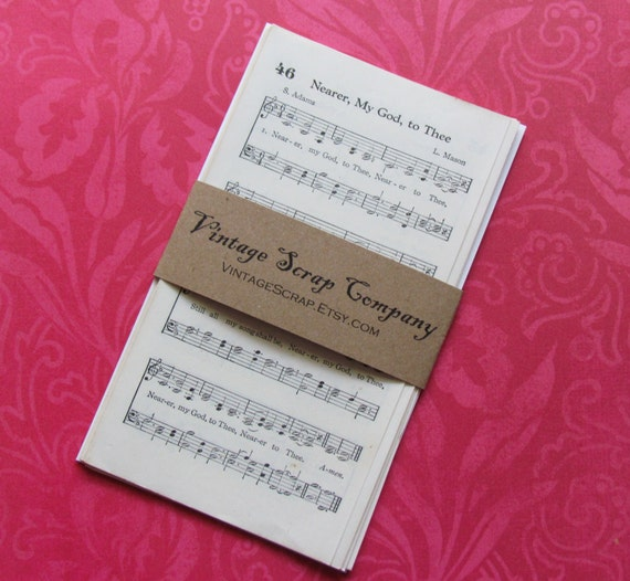 Mini Vintage Hymnal Pages