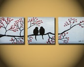 Love Birds, LARGE 36 x 12, Acrylic painting canvas, gallery wrapped and ready to hang, ORIGINAL One of a Kind - Please see close ups