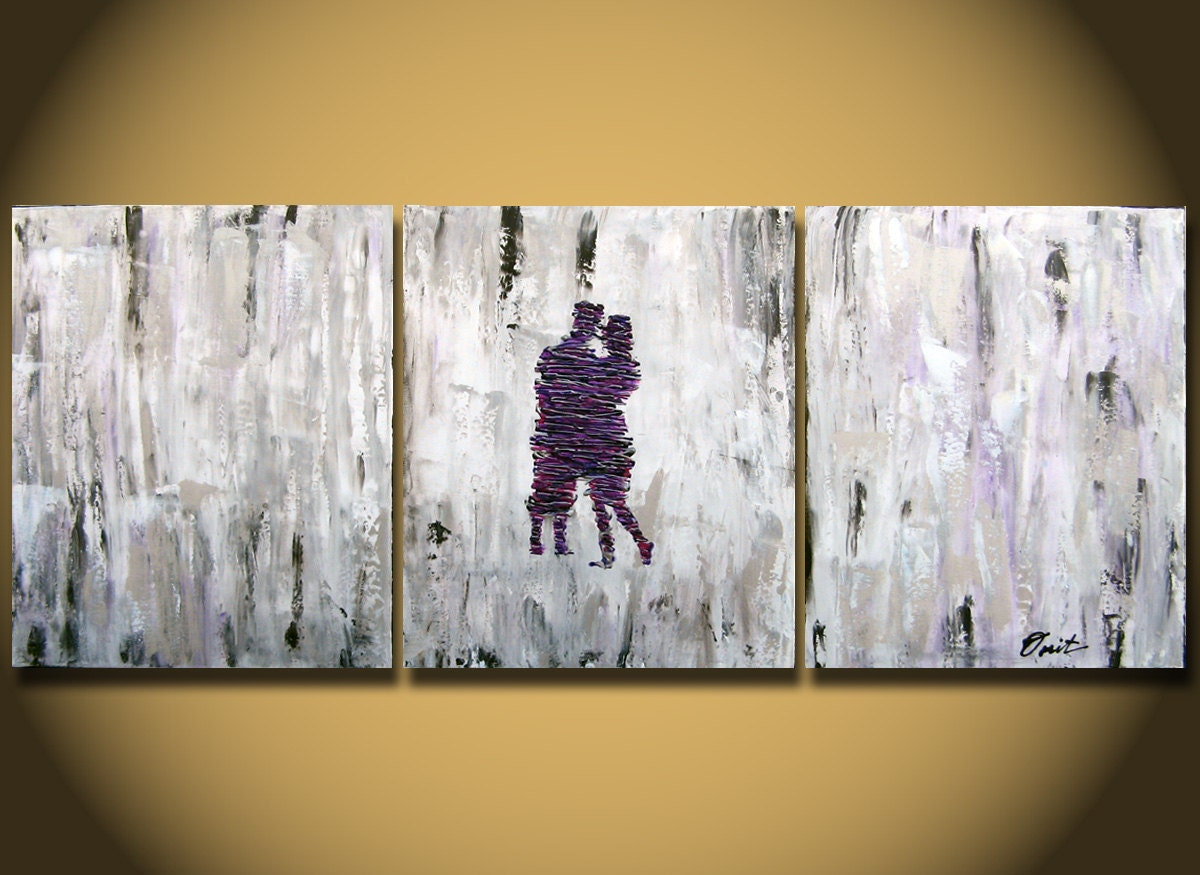 Painting As Wedding Gift : ... Painting 48 purple silver gray heavy texture canvas Purple abstract on
