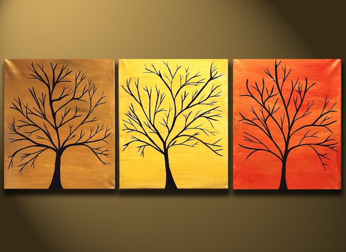 SALE PAINTINGS Abstract Modern Tree Painting 48x20 by OritArt