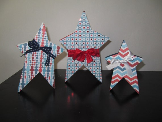 Wood Star Trio, 4th of July, Ready to Ship