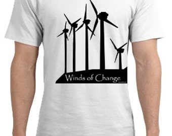 Wind Farm Converting Electrical Energy  T Shirt Winds of Change Alternative Energy Free US Shipping