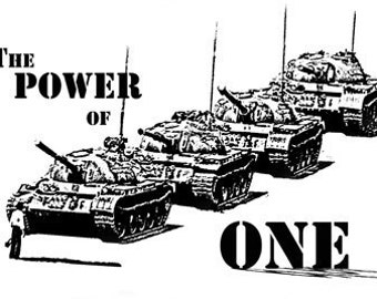 Tiananmen Square Power of One T Shirt Tanks Beijing Based on Jeff Widener Photograph Perfect for Occupy Wallstreet or 99% Free US Shipping