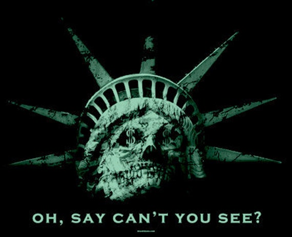 Statue of Liberty and Skull Morph Oh, Say Can't You See Revolutionary Change 99% Occupy T Shirt FREE US SHIPPING