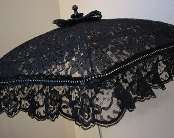 VICTORIAN PARASOL Umbrella in Black Lace Embellished with Rhinestone Band and Lace Ruffle Second Line Wedding Bridal Steampunk Flower Girl