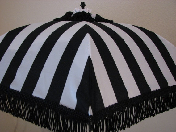 Victorian Parasol in Black and White Stripe Fabric Accented with Black Fringe