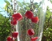 Red Coral Chips Dangle Earrings