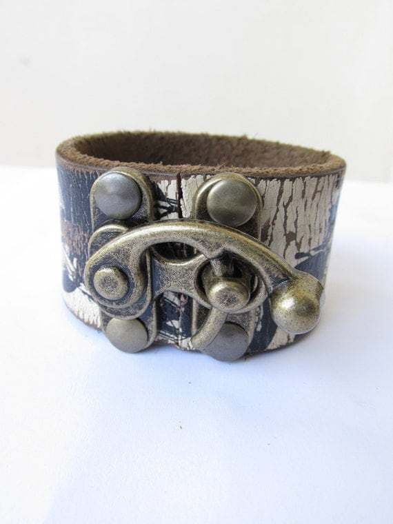Reserved for Exetera- Motorcycle Leather Cuff with Brass Lock Buckle 1OAK Unisex 2 left