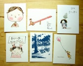 ANY FIVE  greeting cards - set of 5