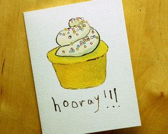 Hooray - Greeting Card - Cupcake