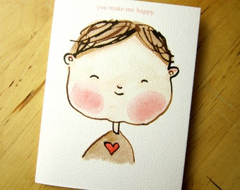 You Make Me Happy - friendship and love card