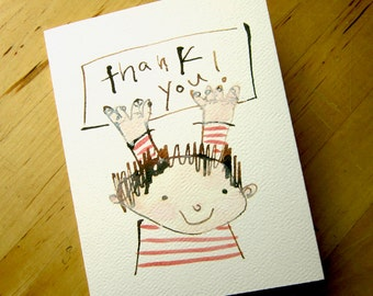 Thank You - Greeting Card -stripes