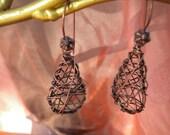 copper wire tear drop shaped earrings