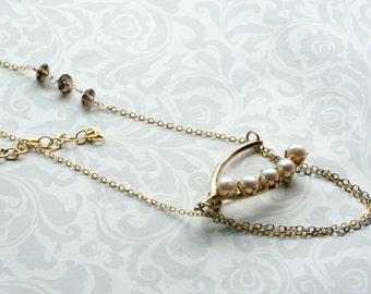 Vintage Wishbone with Pearls Brooch Necklace