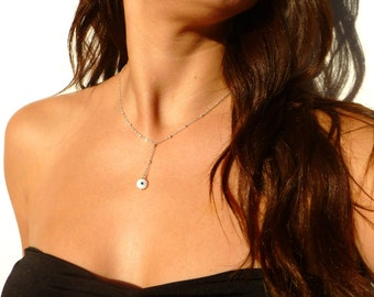 Evil Eye, Sterling Silver Chain, Evil Eye Necklace, Middle Eastern, Evil Eye Jewelry, Holiday Gift