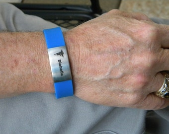 Personalized rubber bracelet medical alert team name